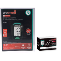 Lifesmart Blood Glucose Ketone Meter LS-946N + 1 Box Blood Glucose Test Strips