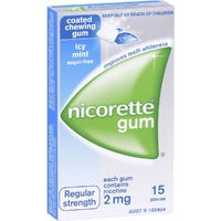 Nicorette Regular Strength 2mg Chewing Gum Icy Mint 15
