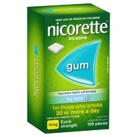 Nicorette Extra Strength 4mg Chewing Gum Icy Mint 105