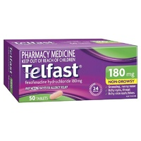 Telfast 180mg 50 Tablets | Fexofenadine Antihistamine