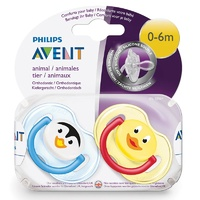 Avent Soothers Animal 0-6M Pack 2 | 1 Set Only Patterns Will Vary