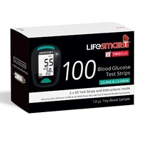 LifeSmart 2TwoPlus Blood Glucose Test Strips (LS-946 & LS-946N) 100