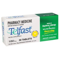 Telfast 180mg 30 Tablets | Fexofenadine Antihistamine