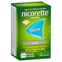 Nicorette Regular Strength 2mg Chewing Gum Classic 105