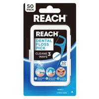 Reach Dental Floss Pick 50 Pack Cleans 3 Ways