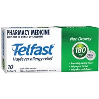 Telfast 180mg 10 Tablets | Fexofenadine Antihistamine