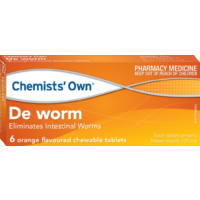 Chemists' Own De Worm Orange Flavoured Chewable 6 Tablets