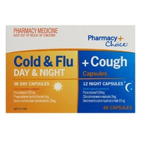 Pharmacy Choice Cold & Flu + Cough 36 Day & 12 Night Capsules