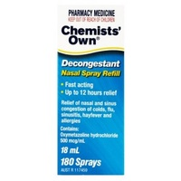Chemists' Own Decongestant Nasal Spray 18mL Refill