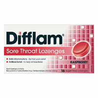 Difflam Raspberry Sugar Free 16 Lozenges