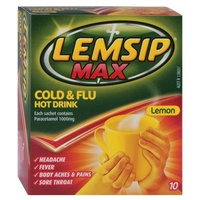 Lemsip Max Cold & Flu Hot Drink Lemon Flavour Sachets 10