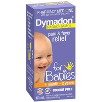 Dymadon Pain & Fever Relief for Babies 1 Month - 2 Years 60mL