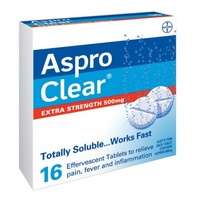 Aspro Clear Extra Strength 500mg 16 Tablets | Pain Fever Inflammation Relief