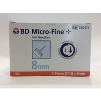BD Micro-Fine Pen Insulin Needles 0.25mm (31G) x 8mm 100 Pack
