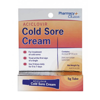 Pharmacy Choice Aciclovir Cold Sore Cream 5g Tube