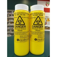 2x 250mL Sharps Container Medical Bin