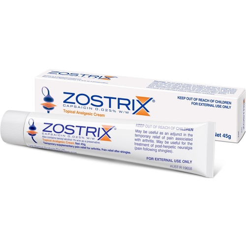 Zostrix Topical Analgesic Cream 45g (Capsaicin 0.025% W/W)
