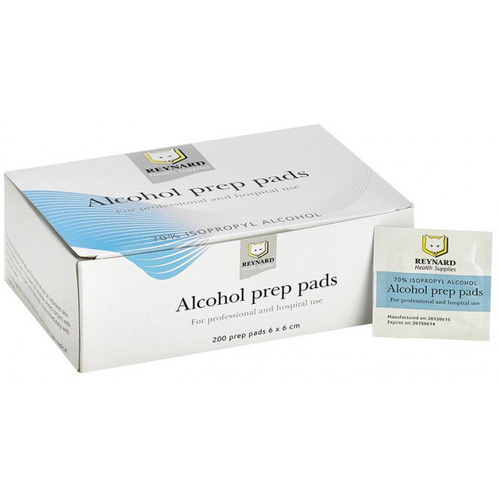 Reynard Alcohol Prep Pads Antiseptic Wipes 200 | Alcohol Wipes Swabs