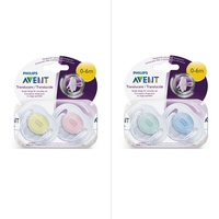 Avent Soothers Transparent 0-6M Pack 2 | Assorted Colours