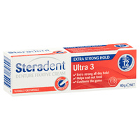 Steradent Denture Fixative Cream Ultra 3 Extra Strong Hold Adhesive 30g