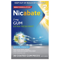 Nicabate 2mg Extra Fresh Mint Gum 30 Pieces