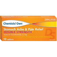 Chemists' Own Stomach Ache & Pain Relief Double Strength 10 Tablets