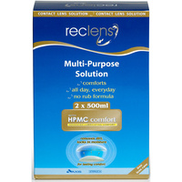 Reclens Multi-Purpose Contact Lens Solution 2 X 500ml + Case