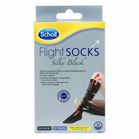 Scholl Flight Compression Socks Silky Black Ladies Size 6-8 (W8-W10)