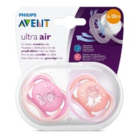 Philips Avent 2 Pack Ultra Air Soothers (Colours and Designs may vary)