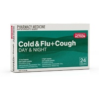 Pharmacy Action Cold & Flu + Cough Relief PE Day & Night 24 Capsules
