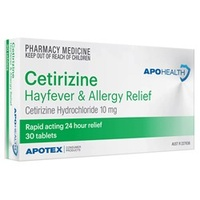 APH Cetirizine Hayfever Allergy 10mg 30 Tablets