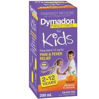 Dymadon Pain & Fever Relief for Kids 2 -12 years, Orange Flavour 200mL