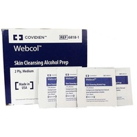 Webcol Skin Cleansing Alcohol Prep Wipes Box of 200