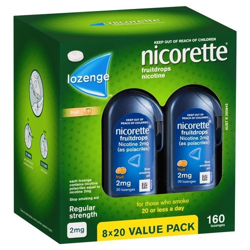 Nicorette Cooldrops Nicotine Lozenges 2mg 160 Fruit Value Pack