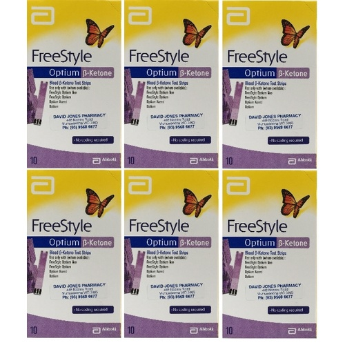 6x Abbott Freestyle Optium KETONE Test Strips